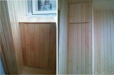 Встроенный шкаф из вагонки на балкон в тюмени. цена товара о.
