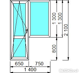 Балконная дверь с окном пвх schmitz 1400*2100 мм для панельн.